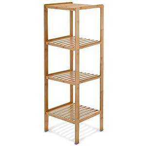 Relaxdays Badregal Bambus HBT: 110 x 33 x 33 cm Schickes Bambusregal mit 4 Ablagen aus natürlichem Holz Standregal als Küchenregal oder Holzregal zur Aufbewahrung und Lagerung im Badezimmer, natur