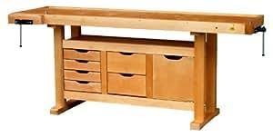 Outifrance 0013202 Etabli en Bois avec caisson à 6 tiroirs/porte 2,00 m
