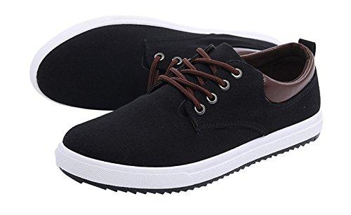 Bomkin Männer klassische Segeltuch-Schuhe Schwarz