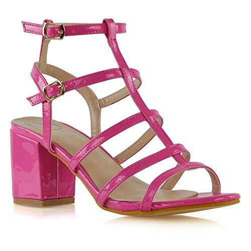 ESSEX GLAM Sandalo Donna Fibbia Cinturino Caviglia Fucsia Finto Patentato Gladiatore Tacco Alto Scarpe EU 37