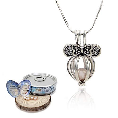 LIUSHUGUANG Women's Love Best Wish Halskette Natürliche Perlenkette Oyster Heart Shape Halskette Wassertropfen Anhänger Halskette,Bow tie