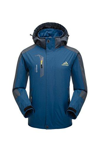 Uomo giacca impermeabile -traspirante giacca antivento/ impermeabili escursioni viaggio antivento softshell con cappuccio (blu scuro, l)