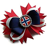 Norway flag hair bow, Beautiful big bow handmade with love in Scotland.