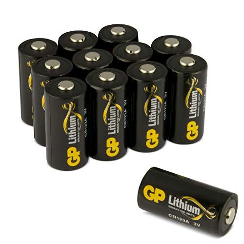 GP Batterien Lithium CR123A Schwarz-Gold (CR17345, 5018LC) 3 Volt (3V) für Digitalkameras, Camcorder, Alarmanlagen, Rauchmelder, Taschenlampen, etc. 12 Stück (3X 4er Pack) 12 Cr123a Lithium Batterien