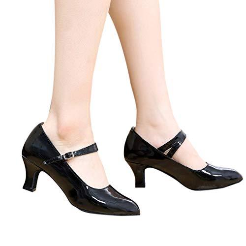 Dasongff Damen Tanzschuhe Latin Dance Glossy Schuhe Geschlossen Soziale Partei Tango Ballschuhe Silber 5.5CM High Heels Dance Shoes Frauen Sandalen Pumps Sandaletten