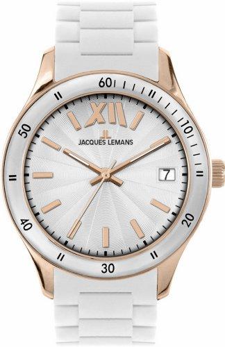 JACQUES LEMANS Rome Sports 1-1623R - Reloj de mujer de cuarzo, correa de silicona color blanco