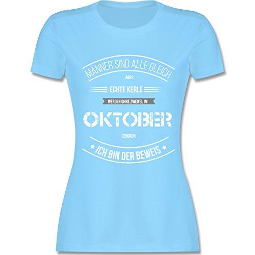 Shirtracer Geburtstag - Echte Kerle Werden IM Oktober Geboren - Damen T-Shirt Rundhals Hellblau