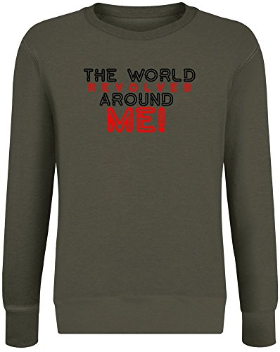 Die Welt dreht Sich um Mich - The World Revolves Around Me Sweatshirt Jumper Pullover for Men & Women Soft Cotton & Polyester Blend Unisex Clothing Small
