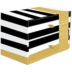 Robert Frederick Caja de almacenaje con 2cajones con Rayas Negras y Blancas, Geo Spot