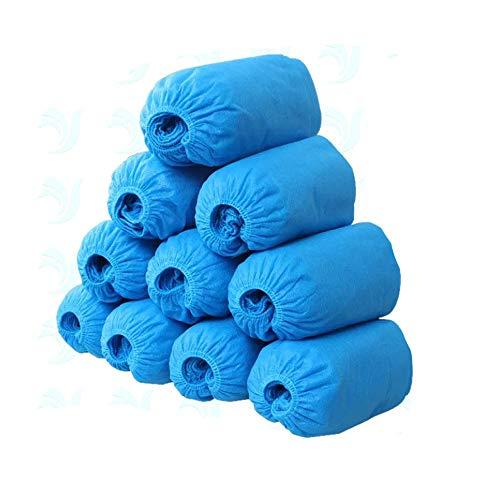 Happyx copriscarpe blu copriscarpe igienico monouso usa e getta antiscivolo antipioggia antipolvere per visitatore, casa, piscina e ospedale (100pezzi tessuto)