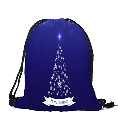 Longra Tessuto di Natale del cotone di tema di natale Babbo Natale Buon Natale sacchetto di Drawstring della tasca del Bundle di stampa I