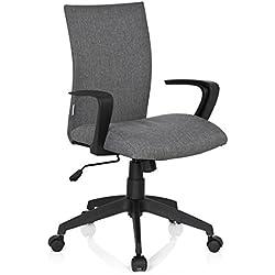 hjh OFFICE 723040 Home-Office Bürostuhl SOFT Stoff Grau Drehstuhl gepolstert mit Armlehne