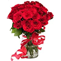 Floral Fantasy Fresh Flowers Bouquet Arrangement - 20 Red Roses in Glass Vase