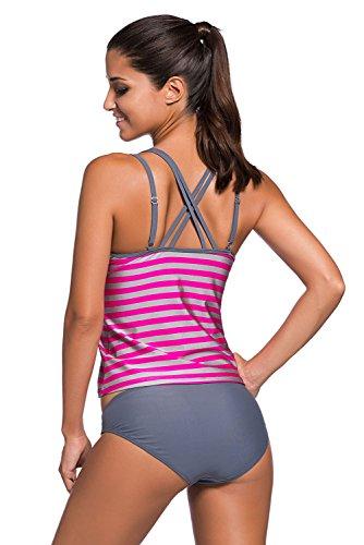 Damen Tankini Bikini Bademode Badeanzug Streifen Polster Träger verstellbar  Zweiteiler Slip Top Pink-Grau ...