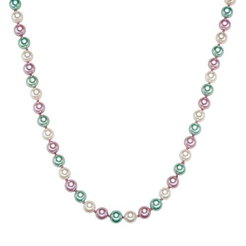 Rafaela Donata Damen-Perlenkette Muschelkernperle Weiß Türkis Rosa Sterling Silber - Perlenkette Multicolor Halskette Perlen Kette Silber