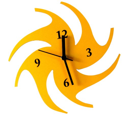 Panache Aeroplane Aluminium Wall Clock (Small, Yellow)