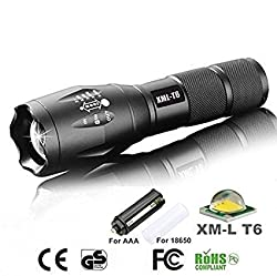 A&T Atomic Beam Torch 5000 Lumens, 5000 LUX Tactical FlashLight Zoomable CREE T6 LED 18650 Flashlight Focus Torch Zoom Lamp Light
