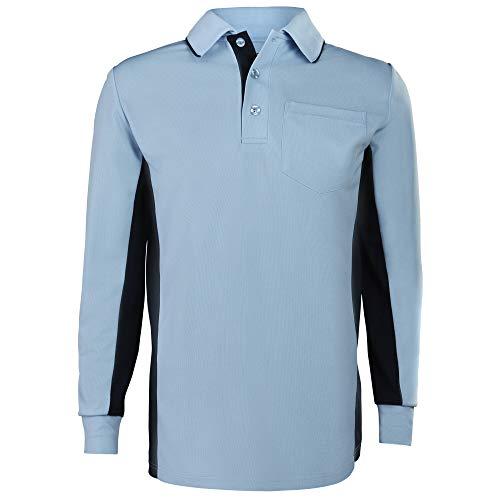 Adams MLB Style Baseball und Softball Umpire Poloshirt, langärmlig, puderblau/Marineblau, Größe XXL -