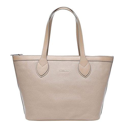 Trussardi Femme Petit sac main avec de grandes poignées en Saffiano, cuir de veau authentique 38x27x12 Cm - Mod. 76B100M Boue