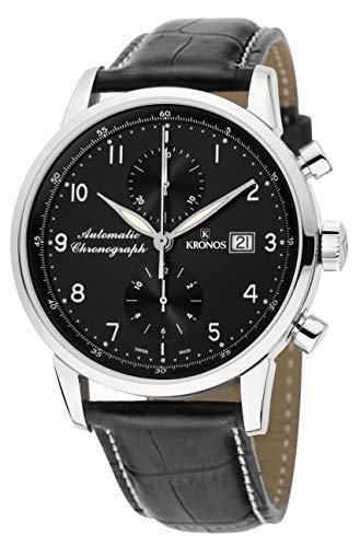 KRONOS - Pilot Automatic Chronograph Black 873N.55 - Reloj de Caballero automático, Correa de Piel...