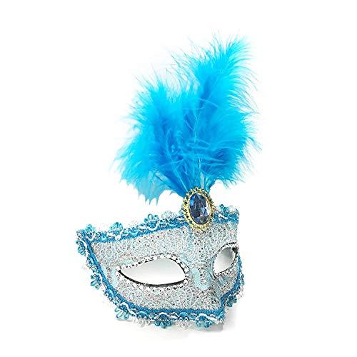 Blauen Maske Feder Kostüm - Dreamowl Damen Pailletten Lace Floral Karneval-Maskerade-Kostüm-Feder-Maske einheitsgröße blau