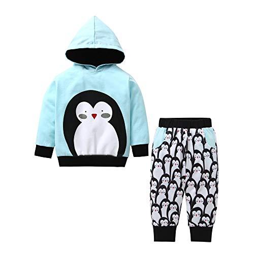Kinder Jungen Mädchen Winter Kapuzenpullover Langarm Pinguin Druck Sweatshirt T-Shirt Top + Baumwolle Lange Hosen Yanhoo Unisex Baby 2 Stück Bekleidungsset -