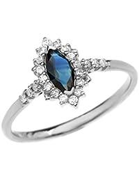 Damen Ring Diamant Und Marquise Saphir 10 Karat Weißgold
