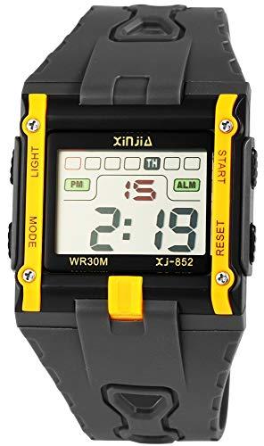Xinjia Reloj de Hombre Negro Amarillo Digital Fecha Alarma luz plástico Silicona Cuarzo Reloj de Pulsera