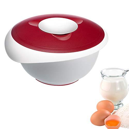 Westmark Rühr-/Backschüssel mit Spritzschutz, Deckel und Ausgießer, Kunststoff, Füllvolumen: 3,5 Liter, Weiß/Rot, 3155227R