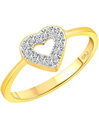 Gk Jewellers True Love Heart Diamond Studded Gold Plated Alloy Cz American Diamond Finger Ring For Women & Girls...