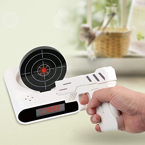 Imountek Cible enregistrable Pistolet Réveil, 12H en fonction d'affichage de l'heure, les voix, deux modes de jeu et de modes d'alarme – Blanc