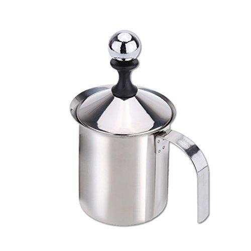 mewmewcat Schiuma da Latte a Doppia Parete in Acciaio Inox da 400ml Schiuma da Latte in Schiuma Bianca da Cucina Fai da Te per Cappuccino Latte