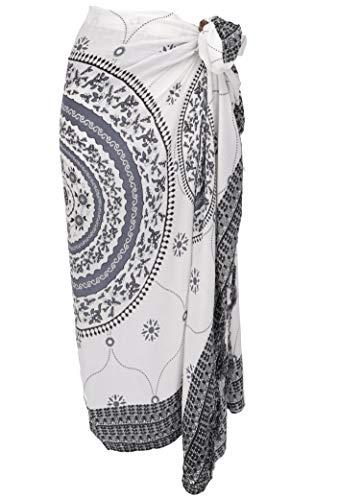 Sarong Bekleidung Pareos (Guru-Shop Bali Sarong, Wandbehang, Wickelrock, Sarongkleid Mandala, Herren/Damen, Weiß/grau, Synthetisch, Size:One Size, 160x120 cm, Sarongs, Strandtücher Alternative Bekleidung)
