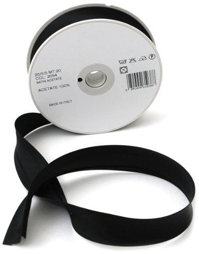 Inastri - nastro sbieco di raso acetato 25/5/ 5 mm, nero 2054