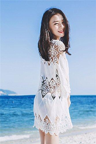 Minetom Donna Floreale Uncinetto Pizzo Mini Collo Rotonda Abito Hollow Out Trasparente Bikini Cover Up Parei Coprire Costumi da Bagno Spiaggia Bianco
