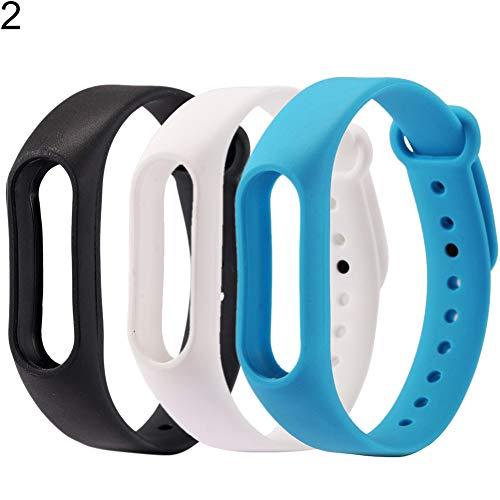 9302sonoaud 3Pcs Cinturino da Polso in Cinturino in Silicone Multicolore per Xiaomi 2 Smart Bracelet 2#