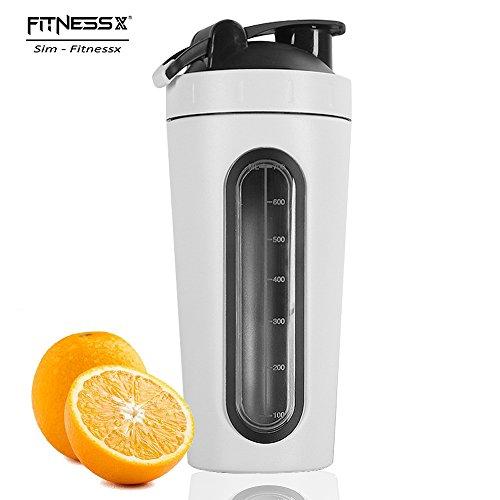 PLC020 700ml Edelstahl Protein Shaker Sport fitness Shaker Eiweiß | Protein Eeiweiß Shaker Becher mit kugel (Weiss-700ml) (Edelstahl-training)