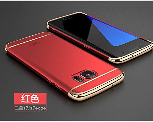 Samsung Galaxy S7 Hülle - Meimeiwu Elektroplattierter Kappen mit einer Matter Oberfläche 3-Teilige Styliche Extra Dünne Harte Schutzhülle Case für Samsung Galaxy S7 - Rose Gold Rot