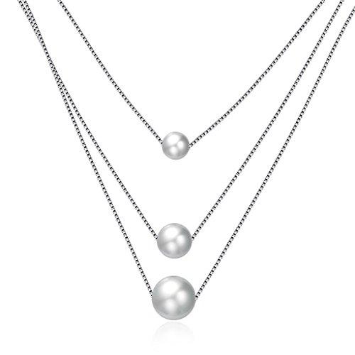 HMILYDYK collar de moda plata de ley 925agua dulce Triple perla cultivada colgante cadena para mujeres niñas