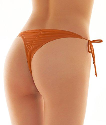 SHEKINI Damen Tie Side Bikinihosen Brazilian String Rüsche Bikini Tanga Bikinihose Raffung Hinten Thong Dunkelorange