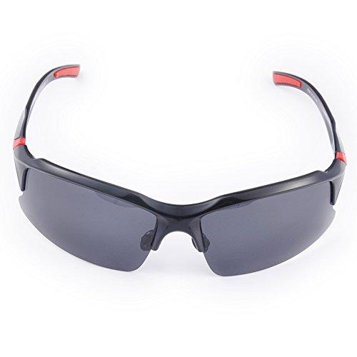 Occhiali da ciclismo polarizzati da uomo, occhiali da sole sportivi con protezione UV 400, per attività all'aperto, codice prodotto: STS014, Black / White