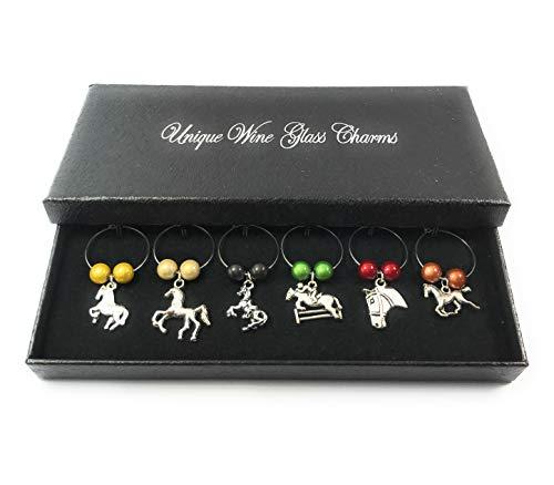 Set von 6Weinglas Horse Lovers Charms mit Geschenkbox handgefertigt von Libby 's Market Place ~ von UK