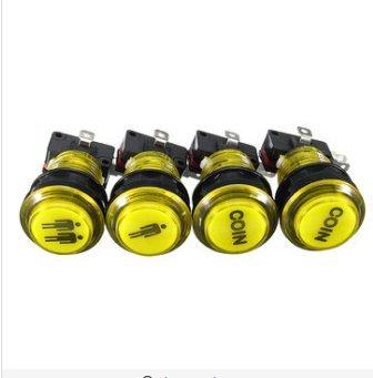GOZAR LED Arcade Single Dual Start Player Coin Push Button - Yellow