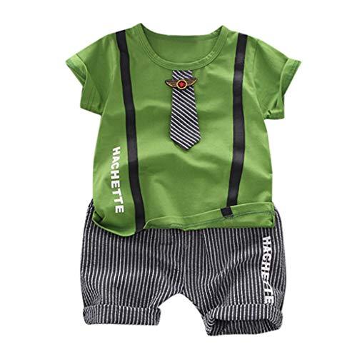 LEXUPE Kid Baby Boy Gentleman Krawatte Brief Top T-Shirt + Gestreifte Shorts Outfit Set(Grün,90)