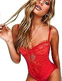 popiv Body Femme Sexy Lingerie Nuisette Erotique Tenue Dentelle Ensemble sous-vêtements, Rouge2, M