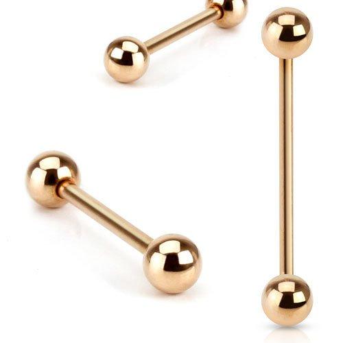 Gekko Body Jewellery Oro Rosa Placcato in Acciaio Chirurgico bilanciere dritto, 1,6mm x (Bilanciere 10 Ga)