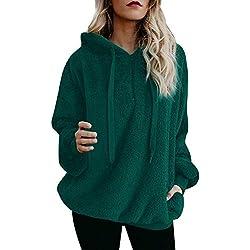 SHOBDW Liquidación Venta Mujer Sudadera con Capucha Suelta Tallas Grandes Jersey de Mujer Jersey otoño Invierno Manga Larga Remata Abrigo cálido(Verde,L)