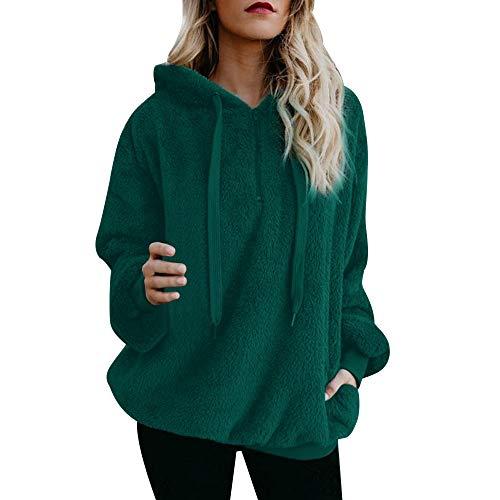 OSYARD Damen Reißverschluss Kapuzenpulli Mantel Winter Warme Wolltaschen Mantel Outwear, Frauen mit Kapuze Fuzzy Sherpa Sweatshirt Fleece Pullover Warmer (2XL, y-Grün)