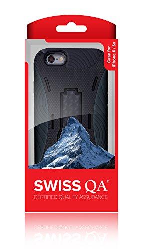 iPhone 6 Cover Case Protettiva - Trasparente - Azzurro - SILICONE - TPU - antiurto, Antigraffio - By SWISS-QA (iPhone 6 6S 4.7) Cover - PROTECTOR - Nero