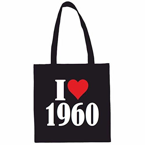 Sac à Bandoulière I Love 1960 Shopping Bag Sac d'école Sac de Sport 38x 42cm en Noir ou Blanc.. Le cadeau parfait pour votre amoureux